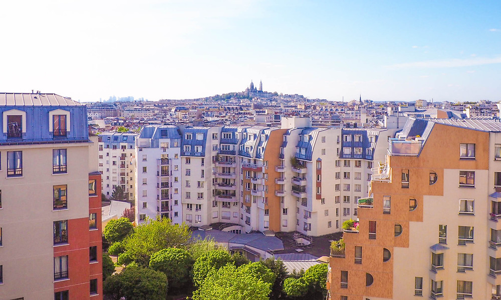 The view of Sacré-Cœur from the rooftop bar of my Hostel