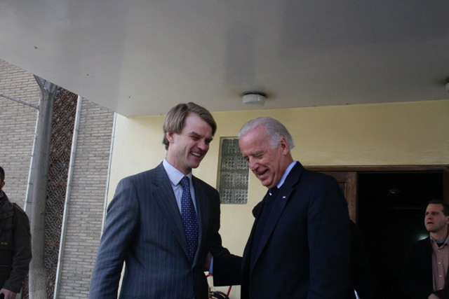 Canadian Ambassador to Afghanistan Chris Alexander meets with Vice President-elect Joe Biden in Kabul in 2008. Photo credit: Chris Alexander.