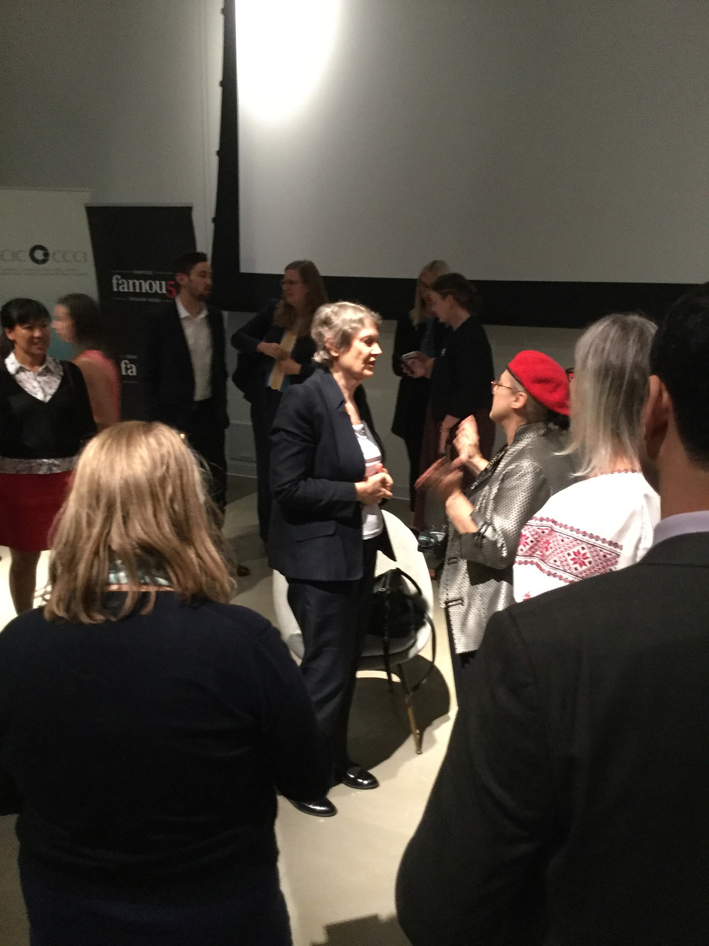 Helen Clark (centre) speaks with audience members at the Ottawa screening of My Year with Helen on June 11, 2018. Photo credit:  Geoffrey P. Johnston