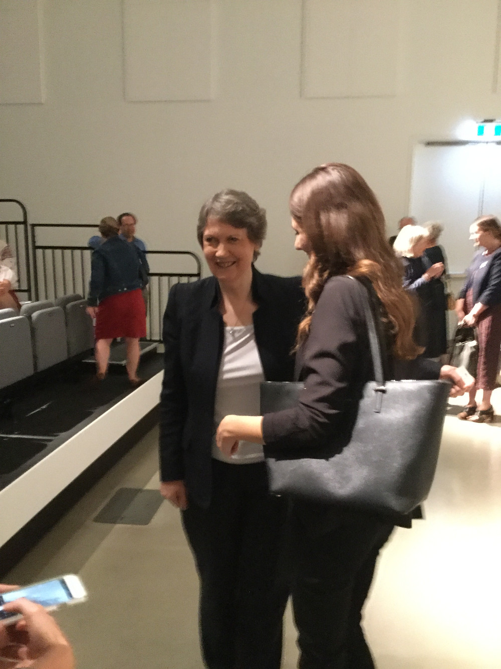 Helen Clark (left) meets young women after a screening of My Year with Helen on June 11, 2018 at the Ottawa Art Gallery. Photo credit:  Geoffrey P. Johnston