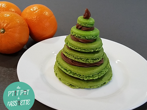 Macaron de Noël chocolat / mandarine