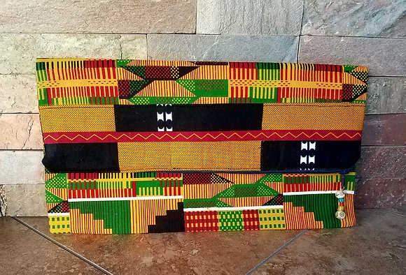 Black, Yellow and Green Kente Print Clutch