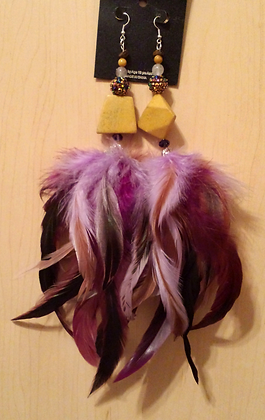 Yellow and Purple Chandelier Feather Earrings