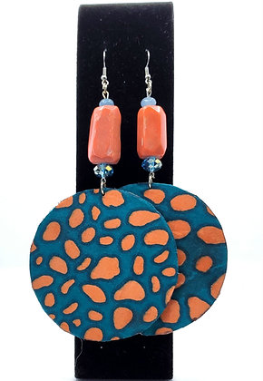 Coral & Turquoise Wood Fab Earrings
