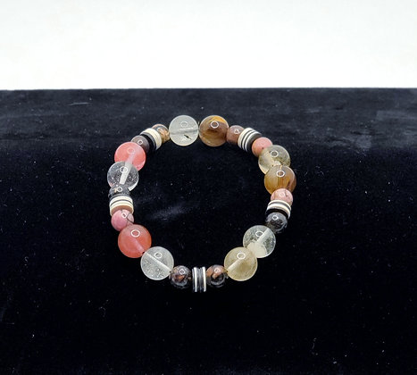 Mixed Agate and Vinyl Bracelet