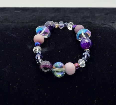 Purple Agate and Moonstone Bracelet