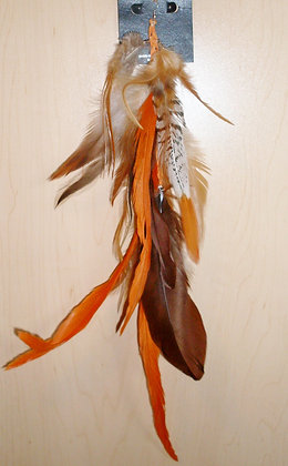 Orange and Natural Brown Native Feather Earring