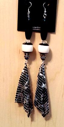 Black and Silver Mesh Teardrop Earrings