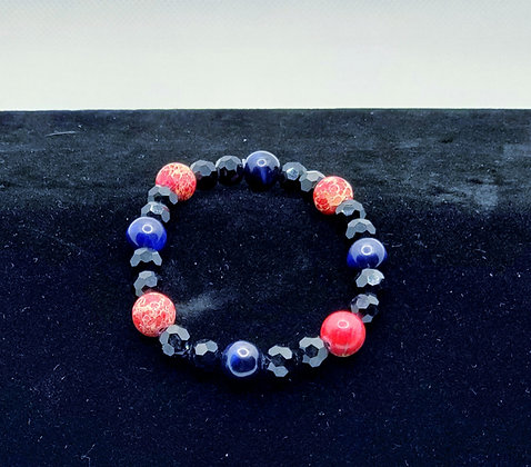 Blue Tigers Eye and Coral Bracelet