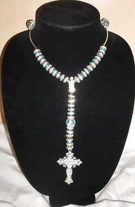 Sky Blue Swarovski Beaded Rosary