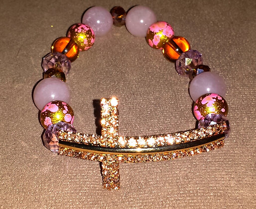 Pink Agate and Gold Glass Cross Bracelet