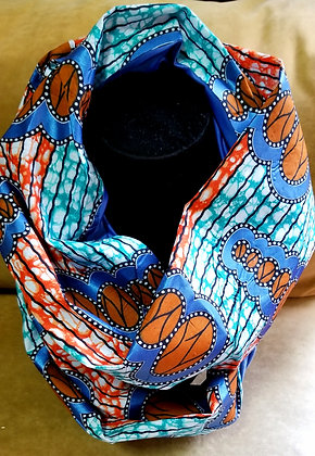 Blue and Orange Ankara Infinity Scarf
