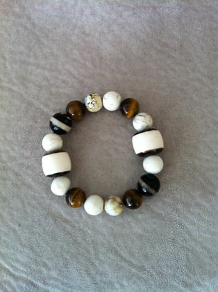 Tigers Eye and Ivory Bracelet