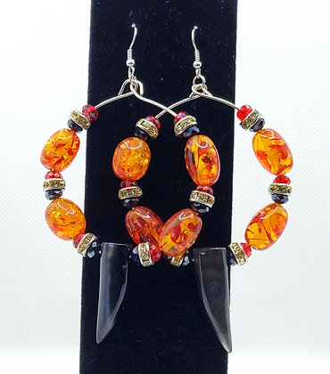 Amber & Black Spike Hoop Earrings
