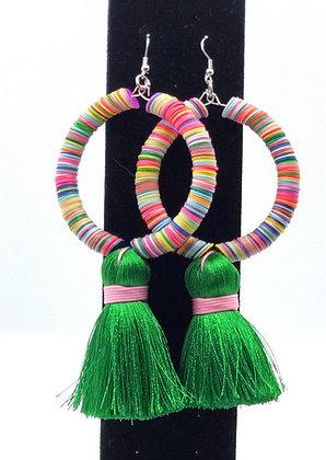 Multicolored African Vinyl Tassle Hoop Earrings