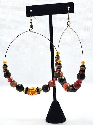 Red and Black Hoop Earrings