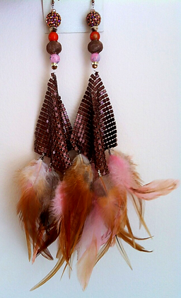 Bronze and Pink Teardrop Mesh Feather Earrings