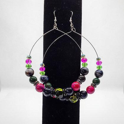 Pink, Green and Blue Hoop Earrings