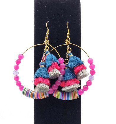 Pink & Turquoise Tassle Hoop Earrings
