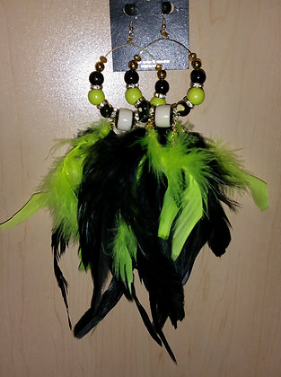 Neon Yellow and Black Hula Girl Feather Earrings
