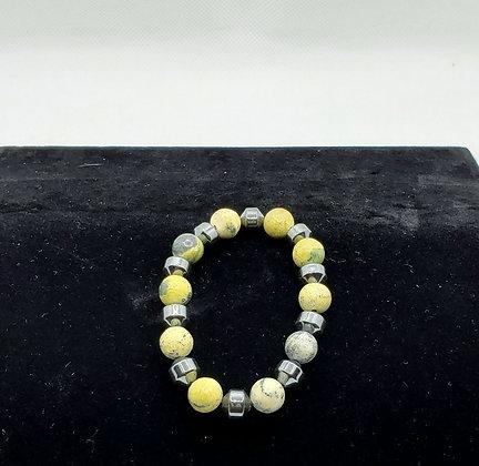 Lime Stone and Hematite Bracelet