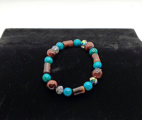 Turquoise and Red Tiger's Eye Bracelet