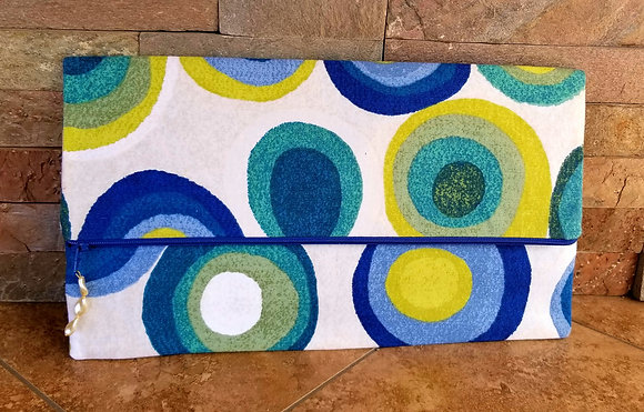 Blue & Yellow Swirl Large Clutch