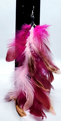 Light Pink & Magenta Native Feather Earring
