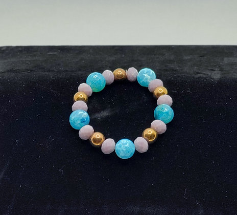 Lavender, Gold and Turquoise Agate Bracelet