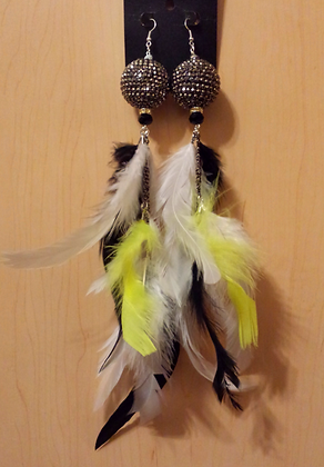 Gun Metal Disco Ball Chandelier Feather Earrings