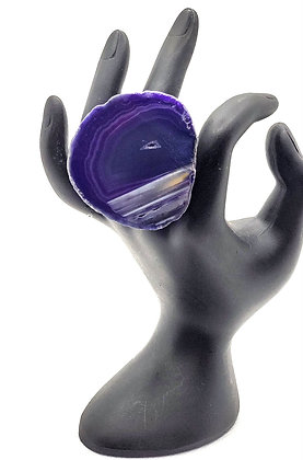 Purple Dyed Agate Ring