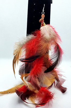 Red & Golden Brown Native Feather Earring