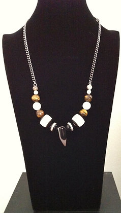 Tigers Eye and Ivory Spike Necklace