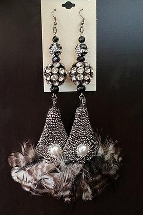 Black Feather Teardrop Earrings