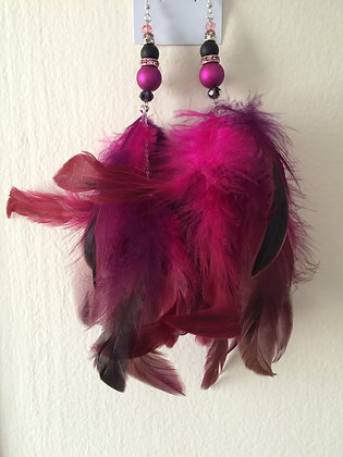 Hot Pink and Black Chandelier Feather Earrings