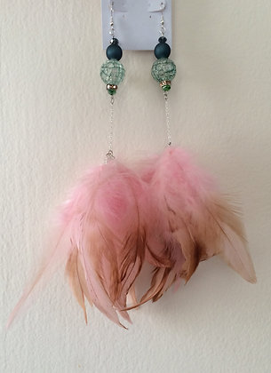 Blue and Pink Chandelier Feather Earrings