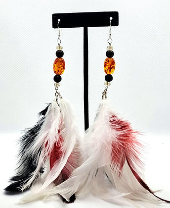 Red, Black and White Chandelier Feather Earrings