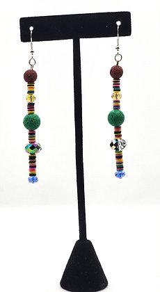 African Vinyl and Green Lava Bead Teardrop Earrings