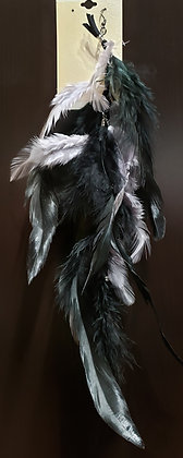 Silver & Black Native Feather Earring