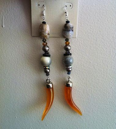 Beige and Brown Teardrop Earrings with Spike