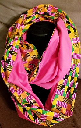 Pink & Orange Kente Infinity Scarf