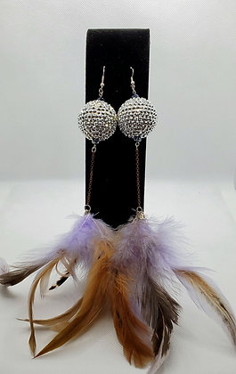 Lavender and Silver Disco Ball Chandelier Feather Earrings