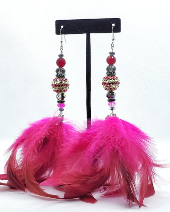 Hot Pink Chandelier Feather Earrings