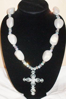 Creme Cross Necklace