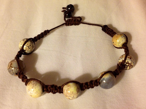 White Turquoise and Brown Shamballa Bracelet