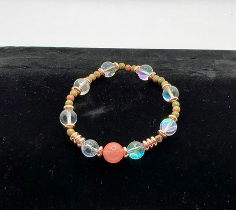 Pink Agate, Moonstone and Unakite Bracelet