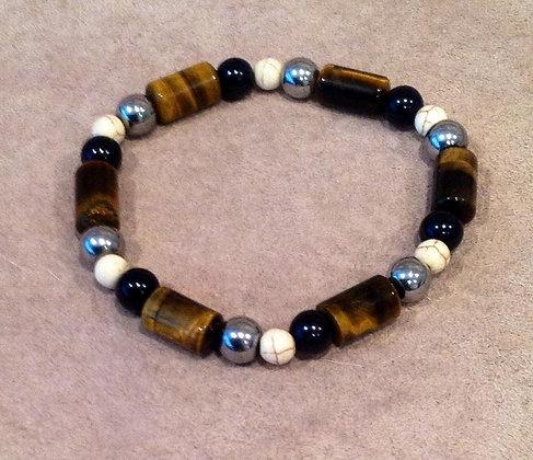 Tigers Eye, Hematite and Agate Bracelet
