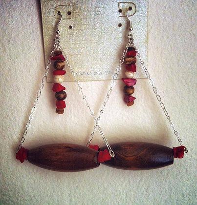 Red and Wood Jinga Teardrop Earrings
