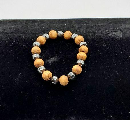 Hematite and Wood Bracelet