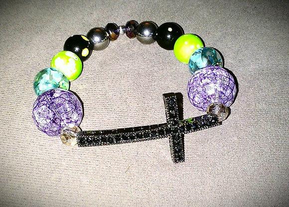 Black and Purple Cross Bracelet